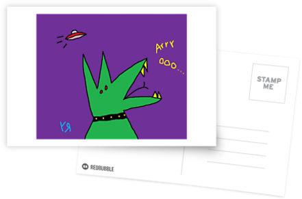 green dog howls 3 postcard