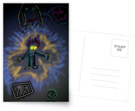 luminous scribble beings postcard