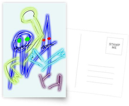 neon robots postcard