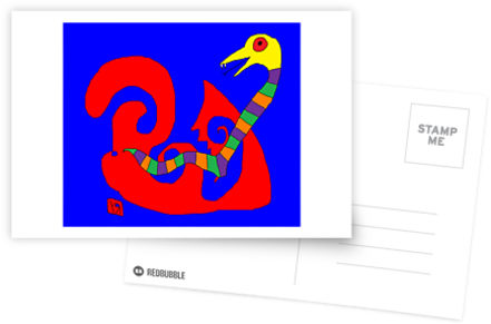 snake tripping out in trichrome universe postcard