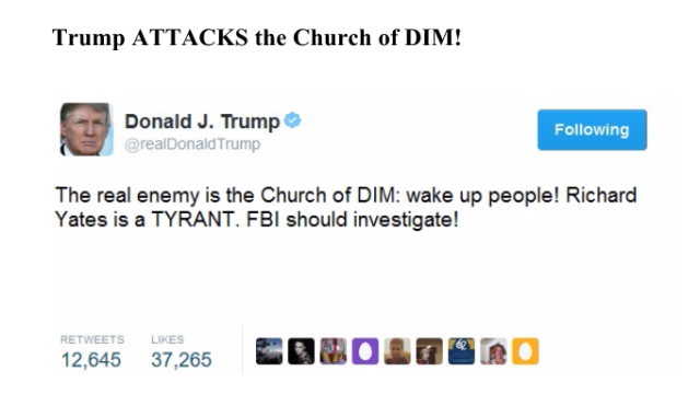 trump attacks church of dim