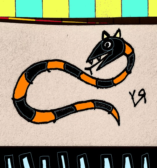 black and orange snake (wearing kitty ears) (14 jan. 2018) by rfy - (peg)