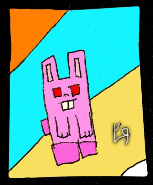 blocky pink bunny (24 jan. 2018) by rfy - (peg)